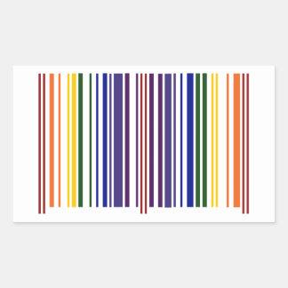 Código de barras doble del arco iris pegatina rectangular