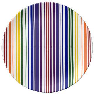 Código de barras doble del arco iris platos de cerámica