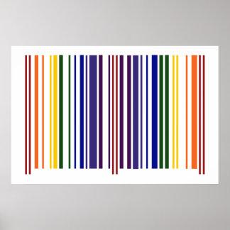 Código de barras doble del arco iris póster