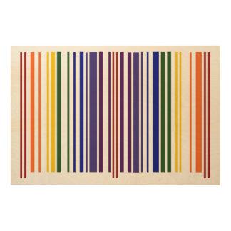 Código de barras doble del arco iris impresión en madera