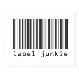 Código de barras - drogadicto de la etiqueta tarjeta postal