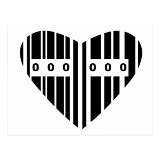 Código de barras en forma de corazón tarjetas postales