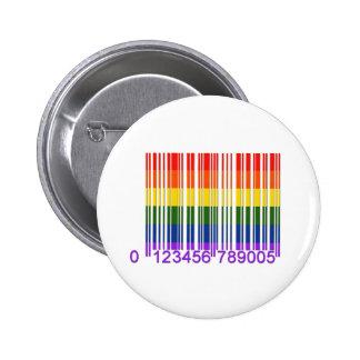 Código de barras gay 1 del arco iris pin redondo 5 cm
