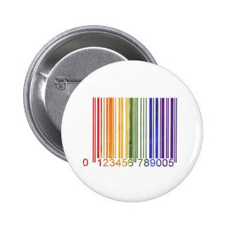Código de barras gay 2 del arco iris pin redondo 5 cm