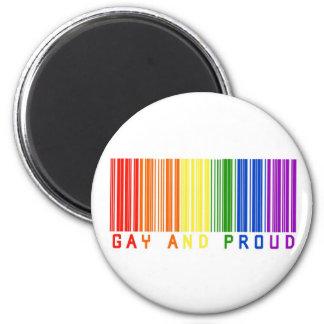 Código de barras gay y orgulloso imán redondo 5 cm