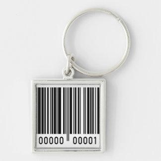 Código de barras llavero cuadrado plateado