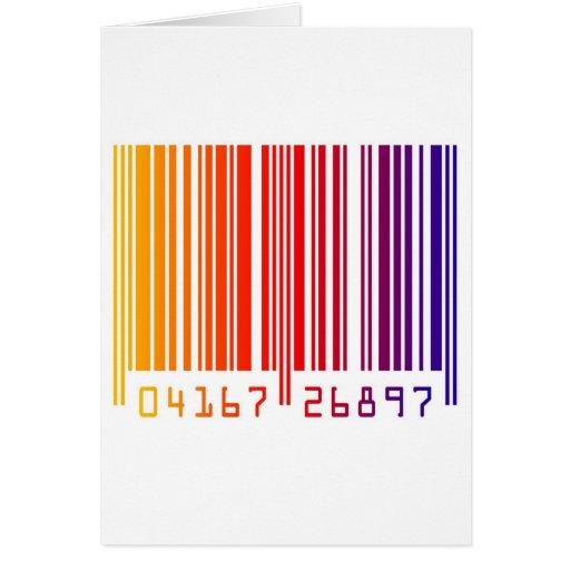 Código de barras moderno del arco iris tarjeta de felicitación