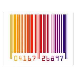 Código de barras moderno del arco iris tarjetas postales