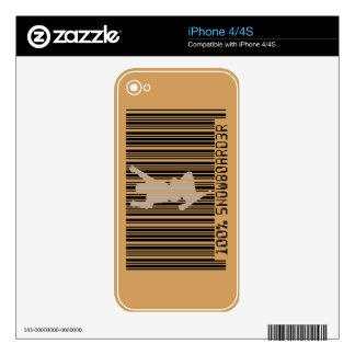 Código de barras negro 100% del SNOWBOARDER 2 iPhone 4S Skins