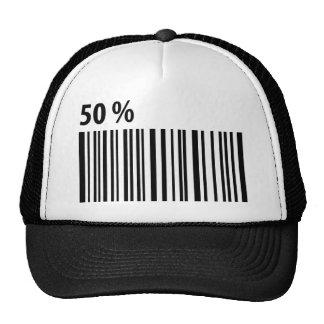 código de barras negro icono del 50 por ciento gorros