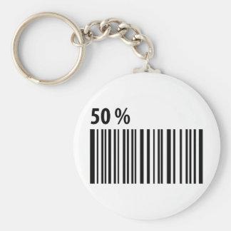 código de barras negro icono del 50 por ciento llavero redondo tipo pin