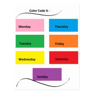 Código de color él días visuales de los tarjeta postal