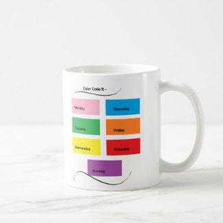 Código de color él días visuales de los taza clásica