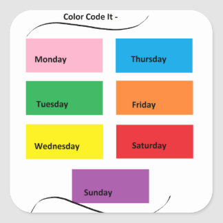 Código de color él - materia del diseñador de pegatina cuadrada