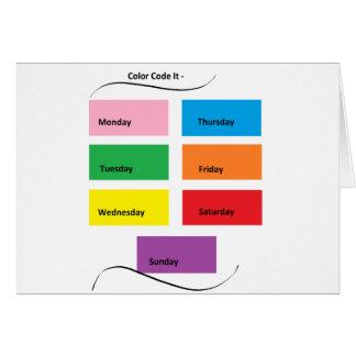 Código de color él - materia del diseñador de tarjeta de felicitación