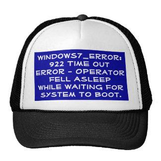 Código de error dormido del operador gorro de camionero