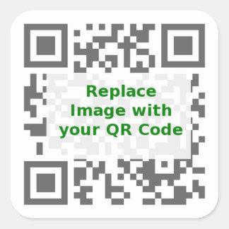 Código de exploración de QR - promueva su mensaje Pegatina Cuadrada