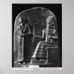 Código de Hammurabi, top del stele Póster