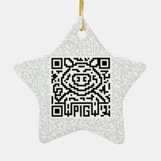 Código de QR el cerdo Adorno De Cerámica En Forma De Estrella