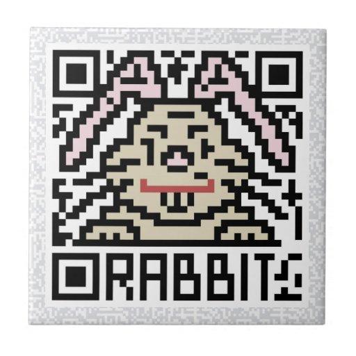 Código de QR el conejo Azulejo Cuadrado Pequeño