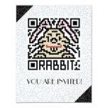 Código de QR el conejo Invitación 10,8 X 13,9 Cm