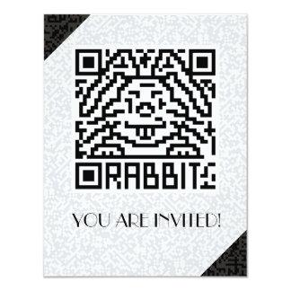 """Código de QR el conejo Invitación 4.25"""" X 5.5"""""""