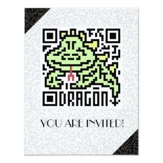 """Código de QR el dragón Invitación 4.25"""" X 5.5"""""""