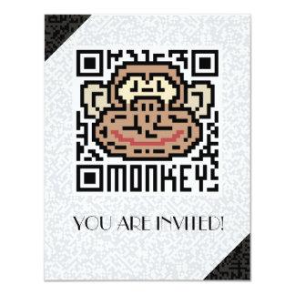 """Código de QR el mono Invitación 4.25"""" X 5.5"""""""
