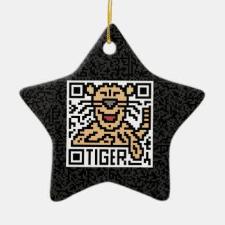 Código de QR el tigre Adorno De Cerámica En Forma De Estrella