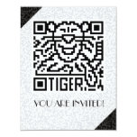 Código de QR el tigre Invitación 10,8 X 13,9 Cm