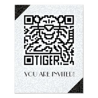 """Código de QR el tigre Invitación 4.25"""" X 5.5"""""""