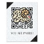 Código de QR las ovejas Invitación 10,8 X 13,9 Cm