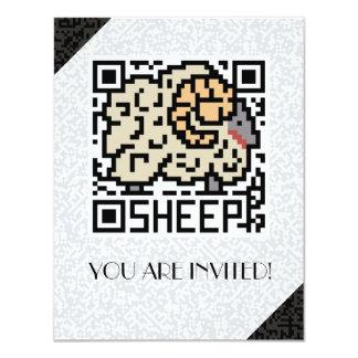 """Código de QR las ovejas Invitación 4.25"""" X 5.5"""""""