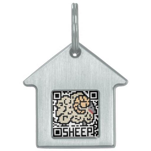 Código de QR las ovejas Placas De Nombre De Mascota