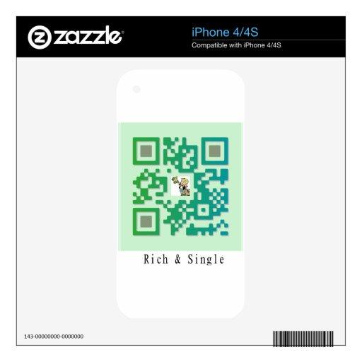 Código de Qr rico y solo Calcomanías Para iPhone 4S
