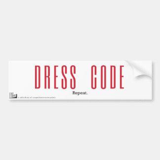 Código de vestimenta. Repetición Pegatina Para Auto