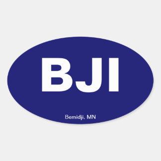 Código del aeropuerto - Bemidji, Minnesota Calcomania Oval Personalizadas