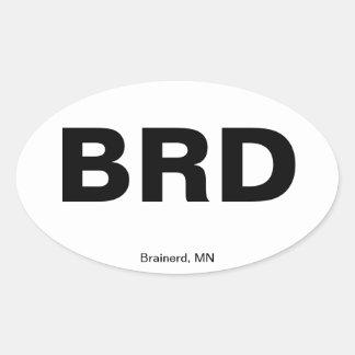 Código del aeropuerto - Brainerd, Minnesota Colcomanias De Oval Personalizadas