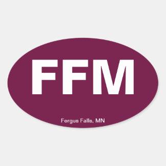 Código del aeropuerto - caídas de Fergus, Minnesot Calcomanía De Oval Personalizadas
