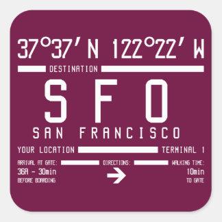 Código del aeropuerto de San Francisco Pegatina Cuadrada