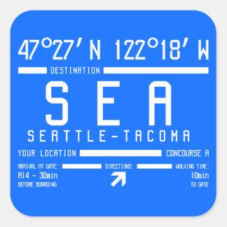 Código del aeropuerto de Seattle-Tacoma Pegatina Cuadrada