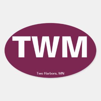 Código del aeropuerto - dos puertos, Minnesota Calcomanía Óval Personalizadas