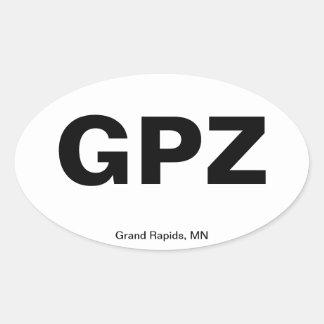 Código del aeropuerto - Grand Rapids, Minnesota Pegatina De Oval