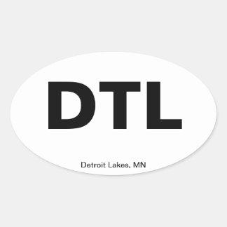 Código del aeropuerto - lagos detroit, Minnesota Pegatina Ovalada