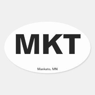 Código del aeropuerto - Mankato, Minnesota Pegatinas Ovaladas