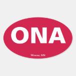 Código del aeropuerto - Winona Minnesota Calcomania Óval Personalizadas