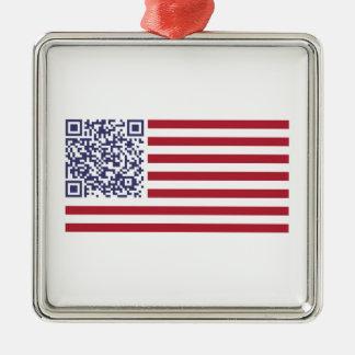 Código del himno nacional QR de la bandera Adorno Cuadrado Plateado