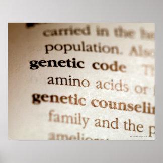 Código genético y definiciones de asesoramiento ge póster