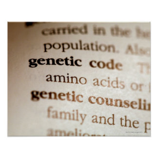 Código genético y definiciones de asesoramiento póster