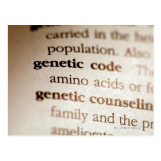 Código genético y definiciones de asesoramiento tarjetas postales